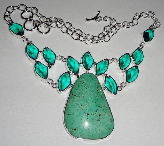 """CLEARANCE, Blue Turquoise, Green Amethyst Necklace in .925 Sterling Silver, 68 grams, 20"""" adjustable"""