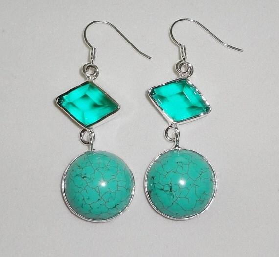 "CLEARANCE, Blue Turquoise, Green Amethyst Pierced Earrings .925 Sterling Silver, 17 grams, 2 1/8"" long"