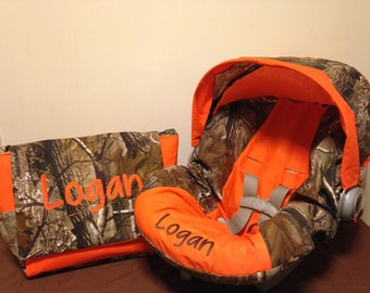 REALTREE  fabric CAMO & orange  infant Car Seat Cover with Canopy and Diaper Bag with Free Monogram