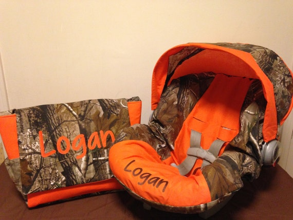 Realtree Fabric Camo Amp Orange Infant Car By Lizsstitchesdotcom