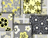 SALE - Digital Sheet - 1 Inch Square - Digital Art - Sakura Blossoms  Embellishments Japanese Flowers Yellows Grays Black CS 62