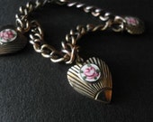 Vintage 40s Gulloiche Child's Bracelet Enamel Heart Rose Copper Bracelet