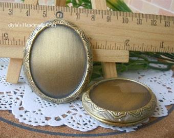 2pcs -10pcs 40x47mm oval Blank bronze  Brass Locket Pendants /Charms (locket006)