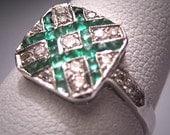 Antique Emerald Diamond Wedding Ring Art Deco Vintage