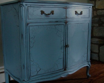 Antiqued French buffet and wine cabinet in an Antiqued French Blue
