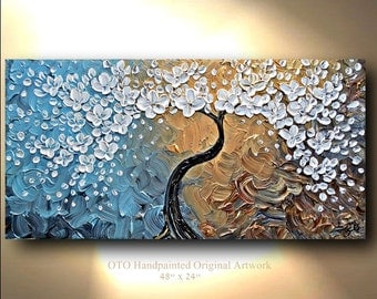 ORIGINAL 48x24 Tree Flower Oil Painting Abstract Blue Brown White Gold Canvas Ready to Hang Textured Art Acrylic Landscape Artwork by OTO