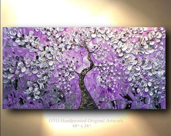 Painting Abstract Flower Tree purple cherry Blossom Oil gray Acrylic Landscape Artwork Textured art by OTO