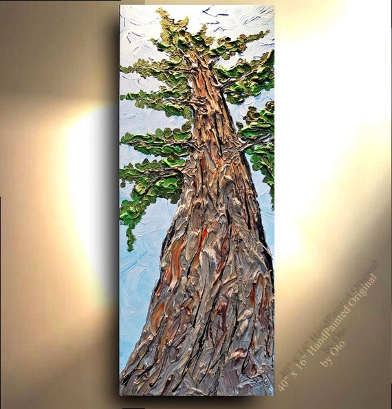 Redwood Pine Tree Red Metallic Bronze Green Abstract Art painting    Redwood Tree Painting