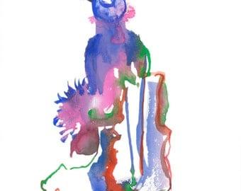 "Original Watercolor, Abstract Figure Painting, Surreal Art, Fashion Illustration, Gouache, 6"" x 6"" - 239"