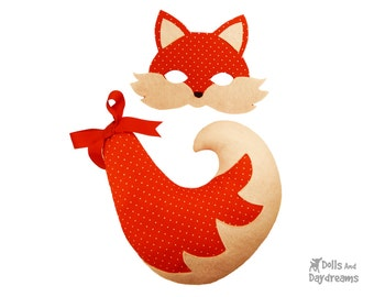Fox Mask Tail PDF Costume Pattern Set - Woodland Animal DIY Halloween Dress Up Pretend Play Kids Adults - Halloween SALE - was 8