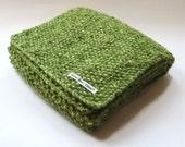 Scarf in Green Aran Tweed Wool