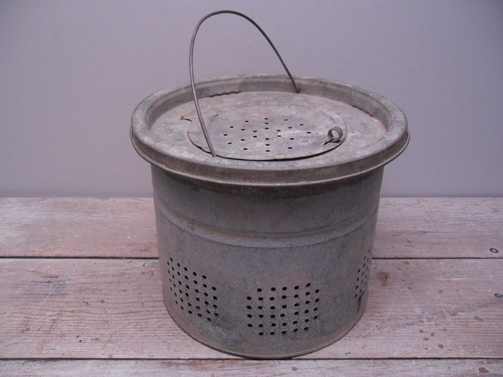 Vintage metal minnow bucket by hautegreenhutch on etsy for Old metal buckets