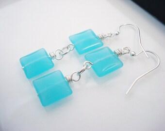 Aqua Blue Earrings, Glass Earrings, Square Earrings, Glass Drop Earrings, Bright Blue Earrings, Blue Earrings, Silver Earrings