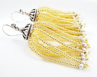 Golden Beaded Tassel Dangly Statement Earrings - Sterling Silver Earwire