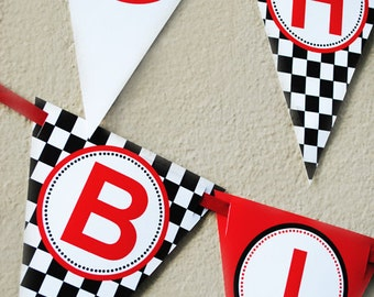 Race Car Happy Birthday Banner - INSTANT DOWNLOAD - Black and Red Collection - Gwynn Wasson Designs PRINTABLES