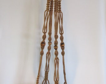 MACRAME Plant Hanger Vintage Style 44inch 6mm CINNAMON with BEADS
