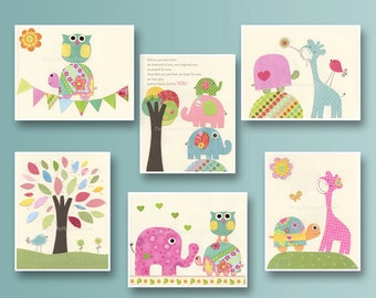 Nursery print, Baby girl Room Decor, Nursery Art, Set of 6 11x14...match the colors daisy bedding, children decor, pink, blue, green, yello