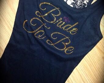 Gold Rhinestones Bride To Be. Bridesmaid Half Lace tank top. Bachelorette shirt. Fluer Di Lis Bride Shirt. Bride Gold Rhinestone Tank Top.
