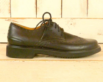 Mens black leather oxfords/vintage leather wing tips/black leather shoes