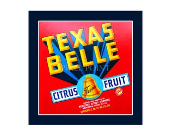 Small Journal - Texas Belle Citrus - Fruit Crate Art Print Cover