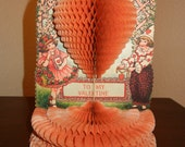 """Vintage Honeycomb Valentine, Floral and Hearts, Boy and Girl, 8 3/4"""" high"""