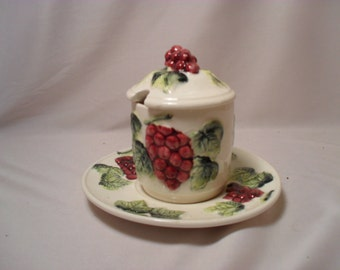 Grape Cluster Ceramic Jelly Jar with Plate
