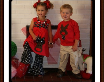 Sibling Reindeer Moose Dress and Boys Reindeer Shirt - Matching Christmas Clothing Brother and Sister