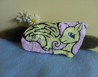FlutterShy my little pony friendship is magic painted rock
