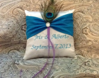 Ivory or white with turquoise  ring bearer pillow with embroidered names
