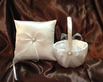 All ivory or all white custom made flower girl basket and pillow