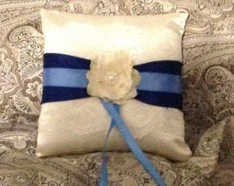 White or ivory custom made ring pillow lace with blue