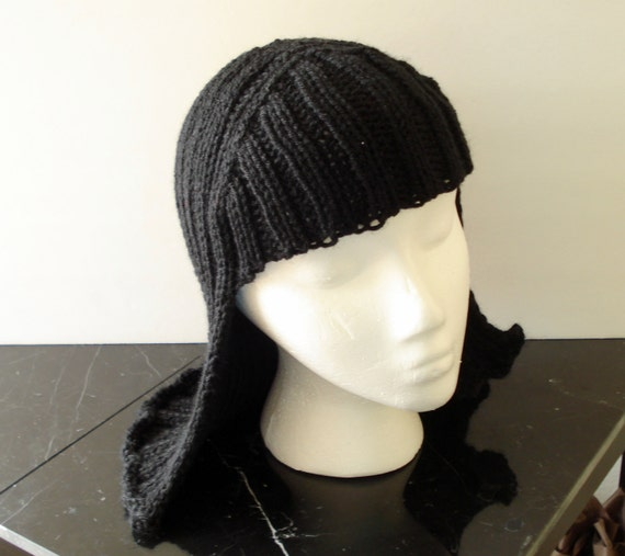Free Crochet Baby Wig Hat Pattern : Black Hat Hair Knit Wig by EtchedinTimeLLC on Etsy