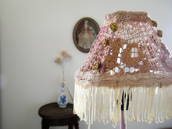 Shabby chic lampshade, Table decor, Bedroom light, Holiday Gift idea , Fabric lace bedroom light , chic lamp.