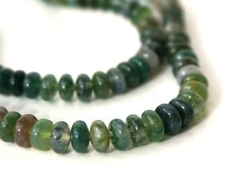 Moss Agate beads, 6mm rondelle gemstone, natural green, full & half strands available  (751S)