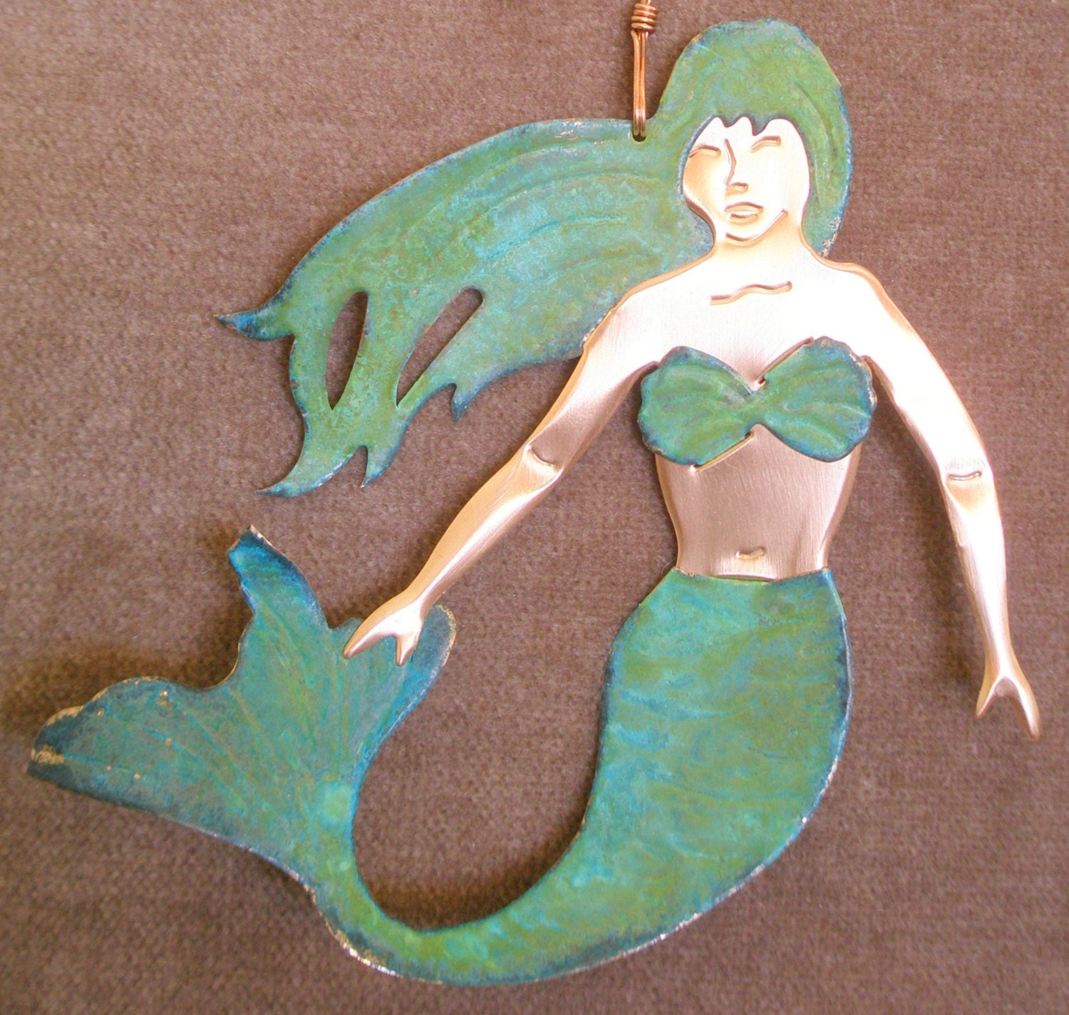 MERMAID Copper Verdigris Ornament - Handcrafted in The Copper State (Arizona USA)