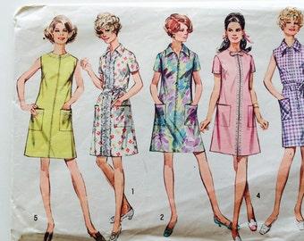 60s Simplicity 8285 A Line Shift Dress Above Knees, Pockets, Collar Size 14 Bust 36