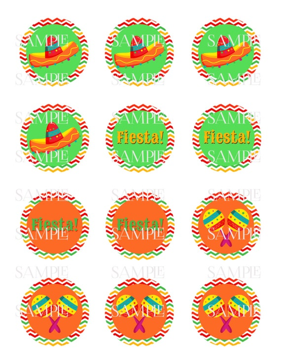 Mexican fiesta party 2 cupcake toppers / favor tags