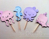 Ocean Cupcake Toppers in Pastel Colors - 12 - girly under the sea collection