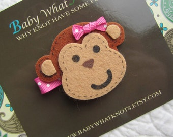 Baby Hair Clip, Monkey Hair Clip, Baby Hair Clippies, Girl Barrette, hcmonkey01
