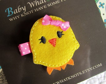 Yellow Chick Hair Clip, Baby Chick Hair Clippies, Girl Barrette, hcchick01