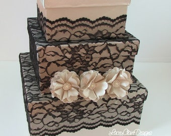 Lace Wedding Card Box, Money Box, Wedding Box - SALE  ready to ship