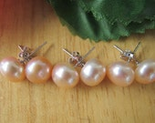 3 Set of Peach Pearl Earrings,Pearl Earrings Peach Earrrings,925 Pearl Earrings,Wedding Pearl,Wedding Gift,Bridal Gift,Bridesmaid Gift