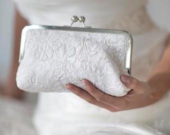 Ivory Bridal Clutch | Alencon Lace | Cabbage Rose Wedding |White Bridal Clutch