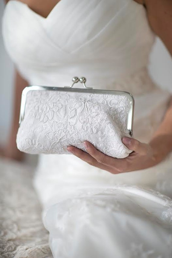 Ivory Bridal Clutch | Alencon Lace | Cabbage Rose Wedding |White Bridal Clutch