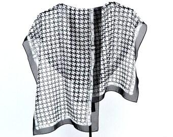 Cejon Oblong Scarf, 13 1/2 in. by 58 in. Black White Bold Herringbone Design, Belt Border, Label, Poly Chiffon, Mint Condition