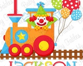Birthday Iron on Transfer Choo Choo Clown Circus Iron On Birthday Boy Birthday Iron on 1st Birthday first Birthday Little Boy Circus theme