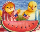 Fourth of July Print 8x10 Baby Chick Kids Art by Janet Zeh