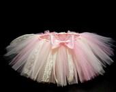 Pink / Ivory Vintage Tutu- Tutu Skirt- Baby Tutu- Infant Tutu- Newborn Tutu- Tutus Baby Shower Gift- Available In Size  0-24 Months