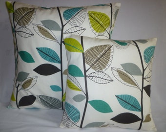 Teal PAIR BIG SMALL Pillows Green Blue Designer Cushion Covers Pillowcases Shams Slips Scatter.