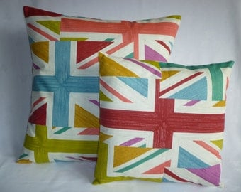 Union Jack Pillows PAIR 22 and 16 inch Designer Cushion Covers Pillowcases Shams Slips Scatter.